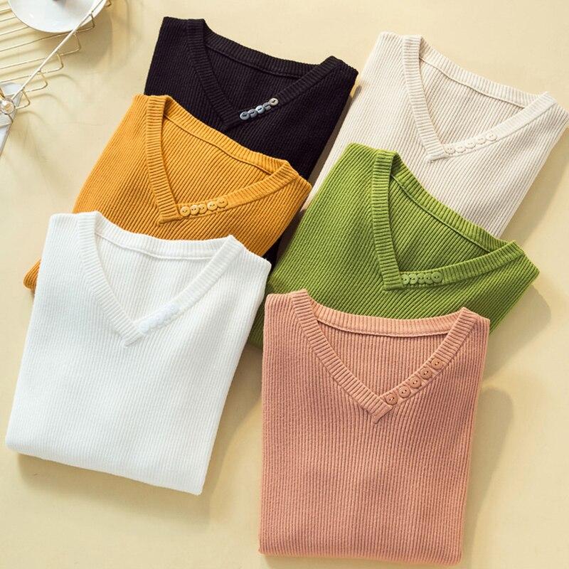 Autumn Winter Sweater Women Sexy Slim V-Neck Button Korean Pullover Autumn Sweater Long Sleeve Pull Femme Pullovers Vintage