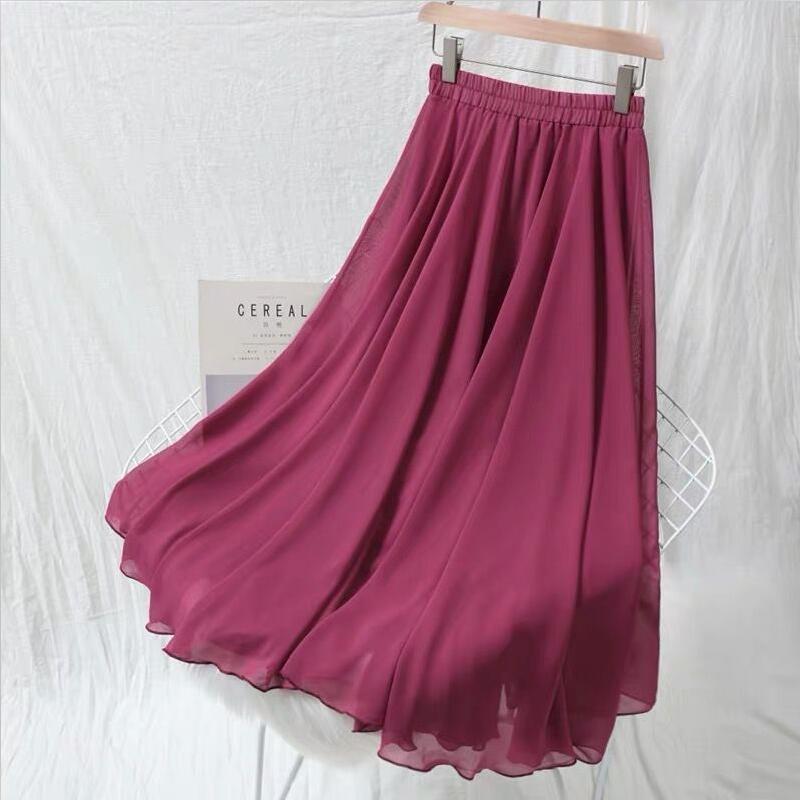 Plus Size 5XL 6XL 7XL Women 2020 Autumn Fashion High Waist Chiffon Skirts Solid Pleated Long Skirt Vintage Elegant Maxi Skirts