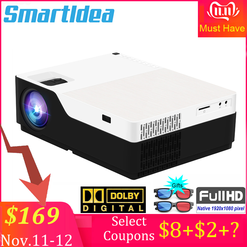 Smartldea M18 1080P Full HD 3D home theater Projector 5500 lumens LED Video game Proyector native 1920 x 1080 cinema Beamer-in LCD Projectors from Consumer Electronics