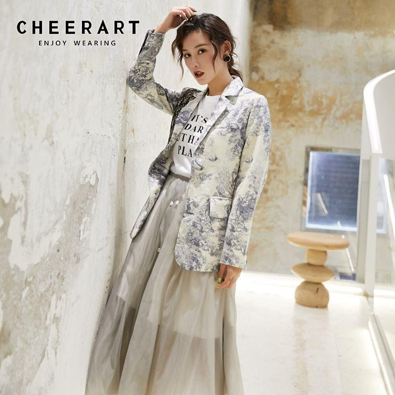 Cheerart High Fashion Blazer Women Designer Jacket Graffiti Print Blazer Femme Ladies Coats Female Fall 2019 Clothing