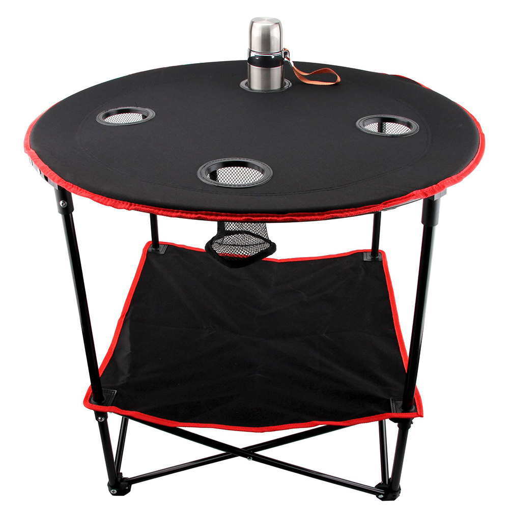 Folding Table with 4 Cup Holders Carry Bag  for  Travel Camping Beach Backpacking  Outdoor Desk