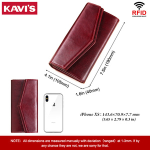 Image 3 - KAVIS Genuine Leather Wallet Female Coin Purse Women Portomonee Clutch  Lady Clamp for Phone Bag Zipper Card Holder Handy Perse