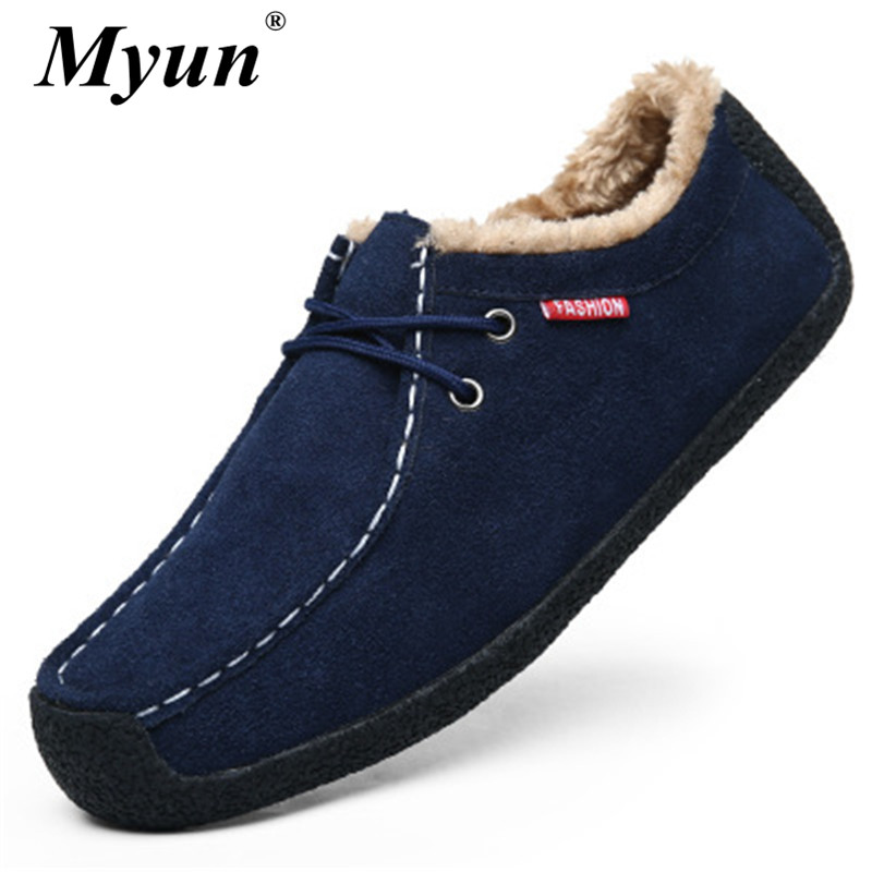 Shoes Suede High-Quality Comfortable Winter Warm Plush Flat Male Lace-Up Soft Size-39-50