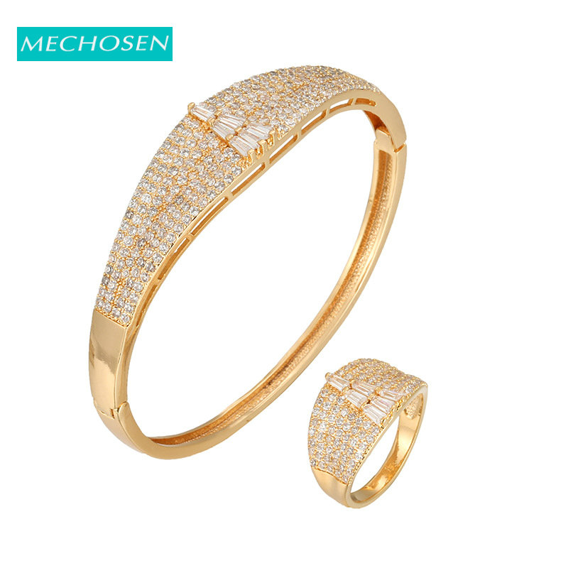 MECHOSEN Gold Luxury Bangle Ring Set Ladies Jewelry Set Wedding Cubic Zircon Crystal Bridal Accessories Aretes De Mujer Modernos