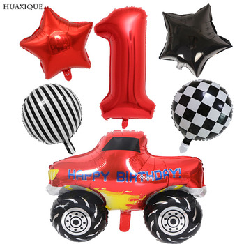 6pcs Racing Car Birthday Party Balloons lack White Checkered Race Car Ballon Happy Birthday Party Decor 32inch Number Toys Globo image
