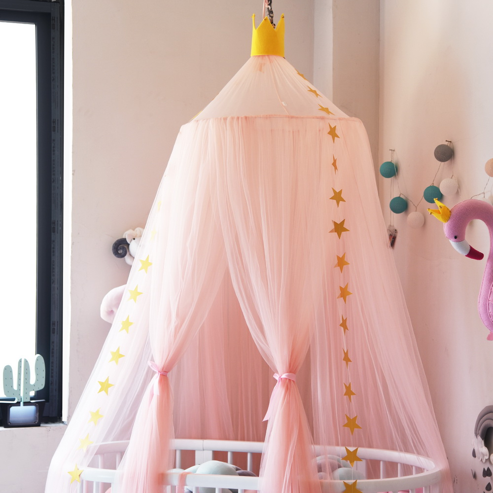 Urijk Hanging Mosquito Net Round Baby Kids Lace Four Corner Student Canopy Bed Mosquito Net for Children Girls Room Decoration