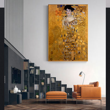 Gustav Klimt Kiss Paintings Replica On The Wall Portrait Of Adele Bloch Golden Classical Wall Art Canvas Picture For Living Room image