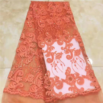 2019 high quality lace Orange French net lace fabric 3D flowers African tulle lace with beads for party X10