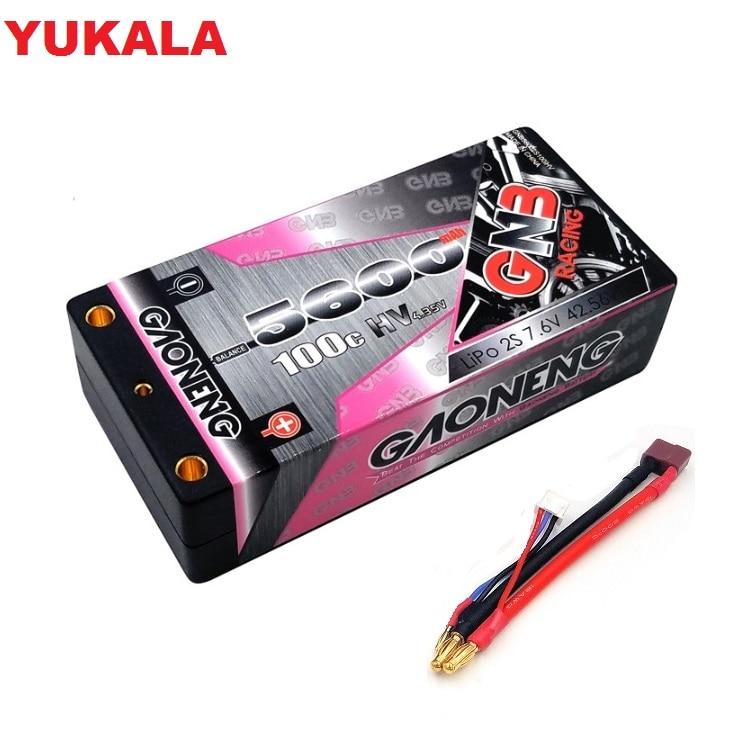 YUKALA GNB 5000mAh 2S 7.4V 120C/240C Hardcase SHORTY LiPo batterie 4.0mm Deans Plug pour 1/10 RC voiture de course B5M 22 RB6 22T SCT