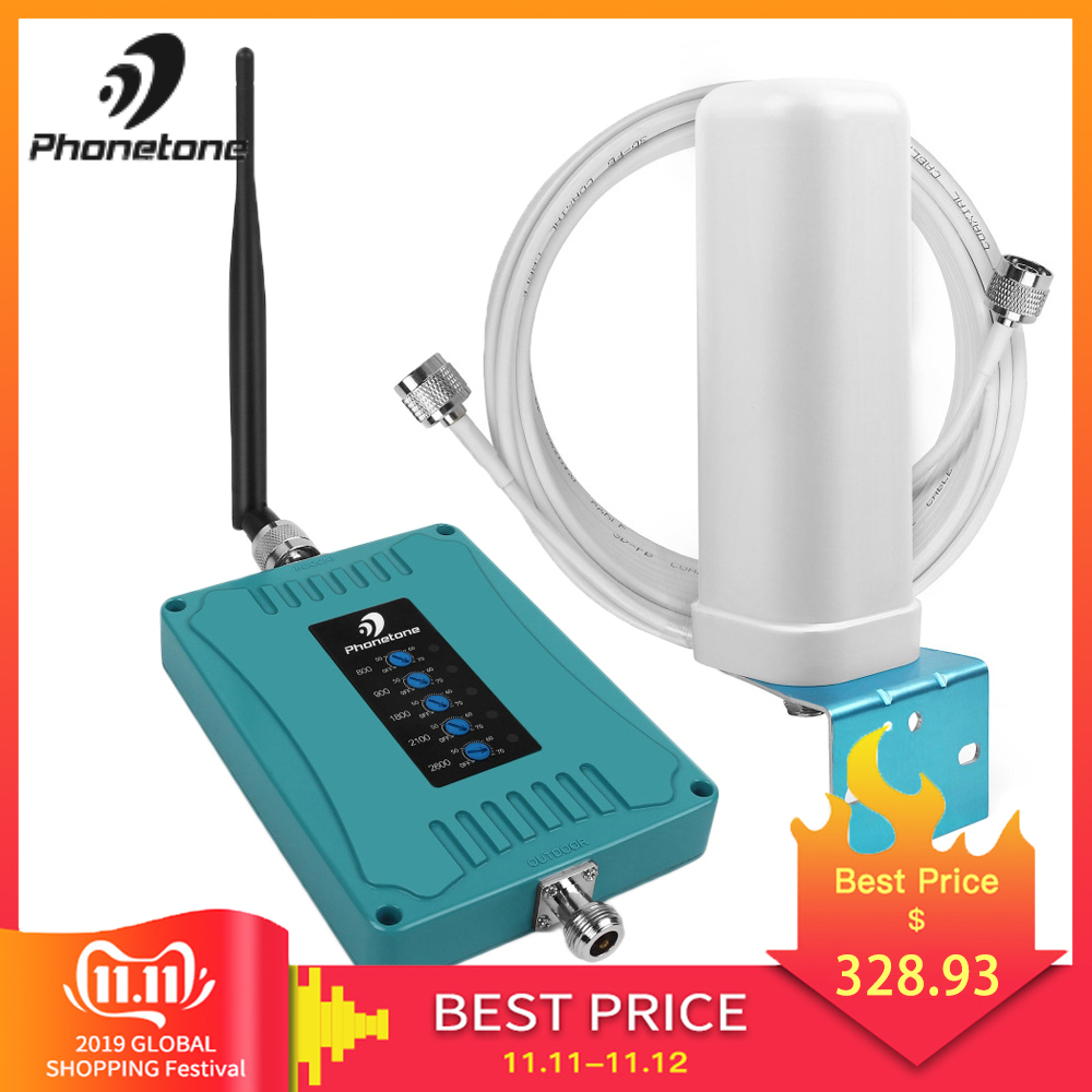 Five Band Cellular Signal Booster GSM 70dB 800/900/1800/2100/2600MHz EGSM 3G W-CDMA 4G LTE Cell Phone Repeater Set For Office