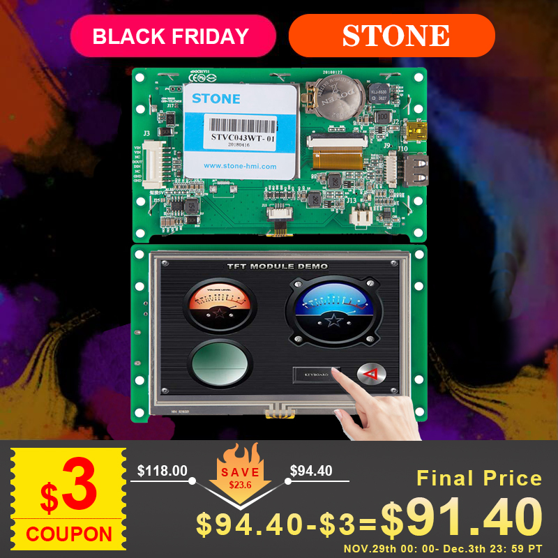 STONE 4.3 Long Years Warranty Period TFT Display With Cpu And Driver In Industrial Control Fields