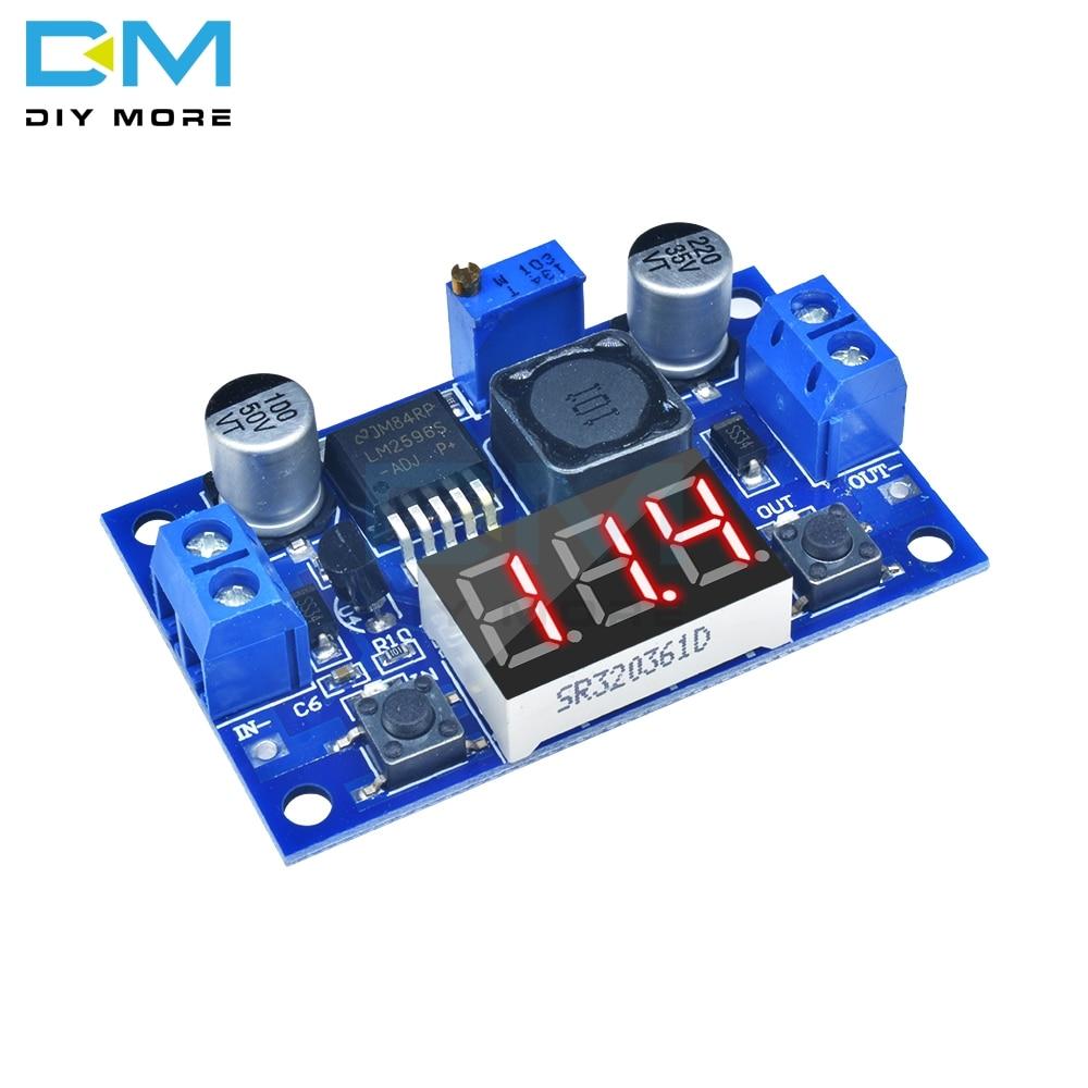 Понижающий модуль преобразователя питания LM2596, светодиодный цифровой вольтметр, регулируемая плата DC-DC, 2 А, защита от коротких замыканий