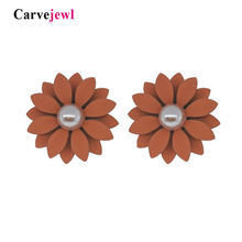 Женские серьги гвоздики с цветком carvejewl ромашки резиновым