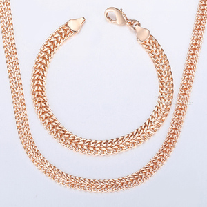 Davieslee Jewelry Sets For Women Men 585 Rose Gold Bracelet Necklace Set Double Cuban Weaving Bismark Chain Jewelry 2019 LCS04(China)