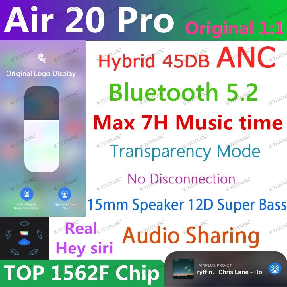 Air20 pro anc tws sem fio bluetooth fone de ouvido 5.2 híbrido 45db super baixo qualidade 1562f pk h1 1562h ar 9 pro air10 plus