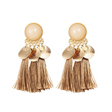Tassel Vintage Earrings For Women Earring Resin Alloy Bohemian Exaggerated Style Ear rings 2020 Fashion Jewelry graceful exaggerated alloy multilayered body chain for women