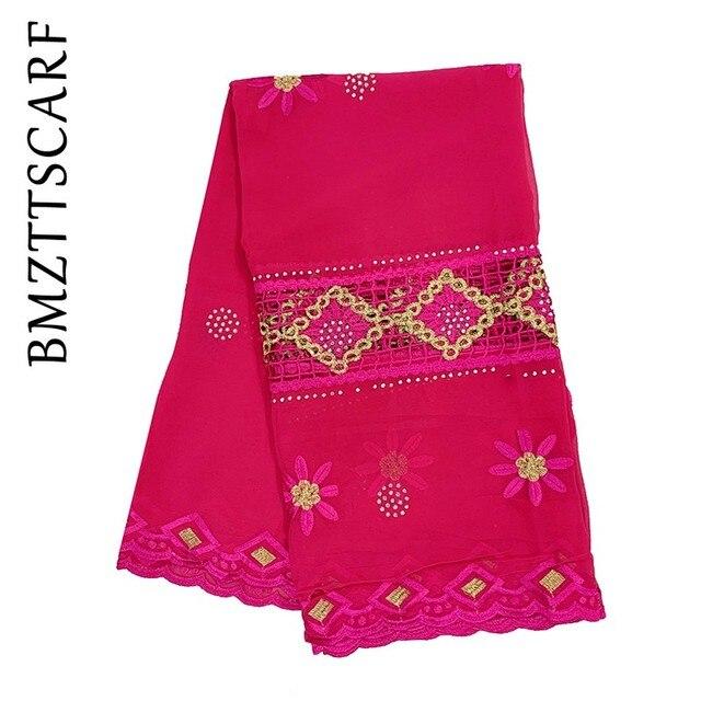 Nouveau foulard musulman femmes africaines broderie en mousseline de soie écharpe grande taille en mousseline de soie écharpe pour châles BM528