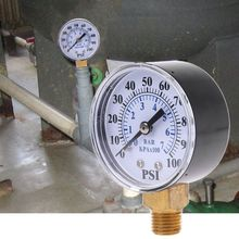 Well Pump Pressure Gauge 1 4 #8221 NPT Thread 0-100 PSI 0-7 Bar Water Air Gas Pressure Monitor tanie tanio OOTDTY 4 - 6 9 Inches Analog 100 - 149 PSI