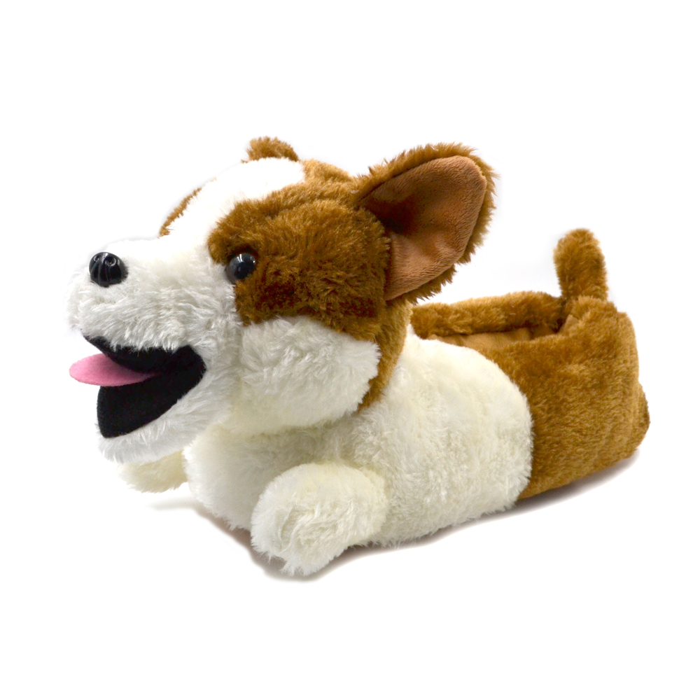 Millffy Classic Plush Corgi Slippers Plush Dog Animal Slippers Brown And White Costume Footwear