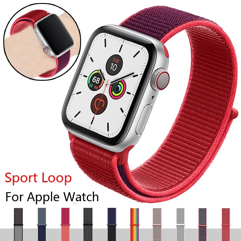 Esporte pulseira de loop para apple relógio banda 4 5 3 44mm 40mm correa 42mm 38mm iwatch banda pulseira respirável maçã relógio acessórios