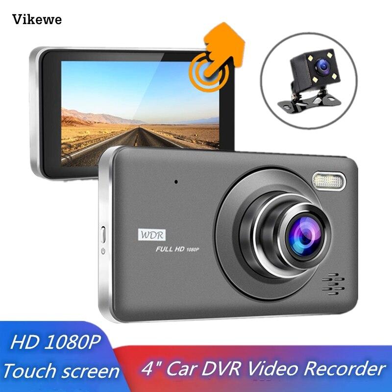 Vikewe voiture DVR 4 pouces tactile Auto caméra double lentille Dash Cam enregistreur vidéo FHD 1080P enregistreur avec caméra de vue arrière Dashcam