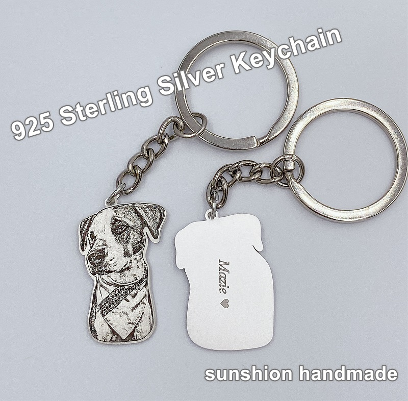 Personalisierbare Pet Necklace Personalized Pet Custom Necklace Jewelry Photo Pendant Engrave Name 925 Sterling Silver Dog CAT Tag portrait