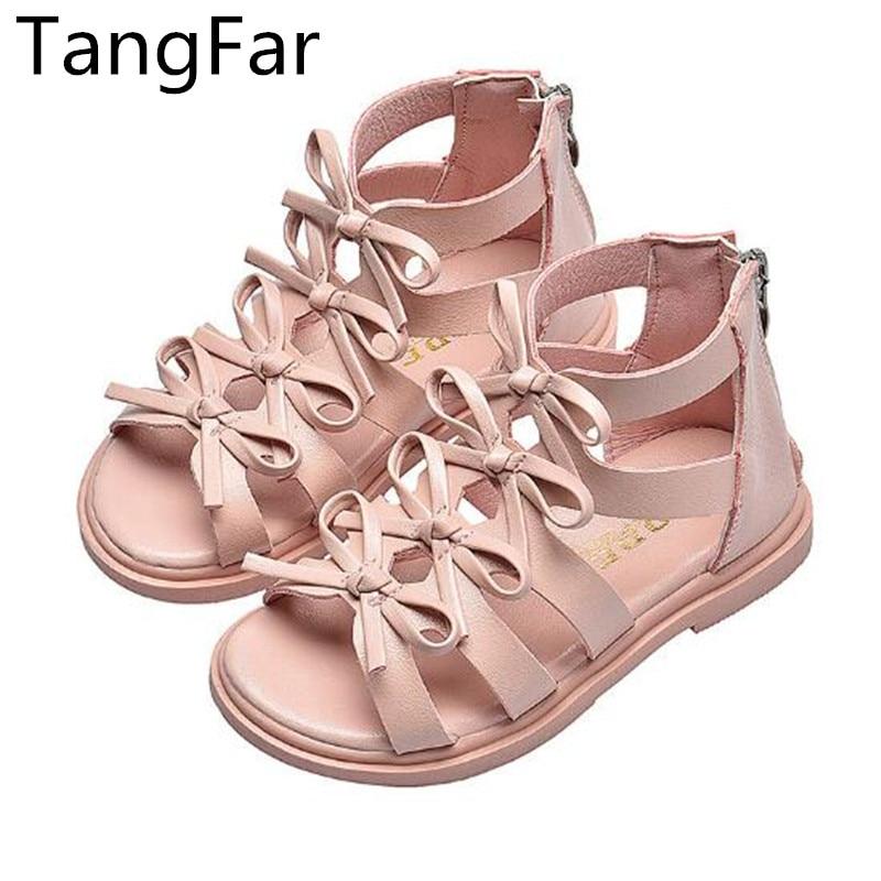 Girls Leather Gladiator Sandals Bowknot Children Zipper Beach Shoes Fashion Knee-high Flat Heel Summer Boots