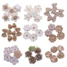 5 шт/лот цветы ручной работы из мешковины в винтажном стиле