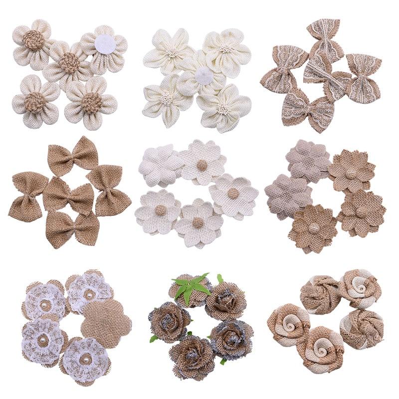 5pcs/lot Handmade Burlap Flowers Heads Vintage Hessian Bowknot Flower Rustic Wedding Party Decoration Centerpieces Roses Decor