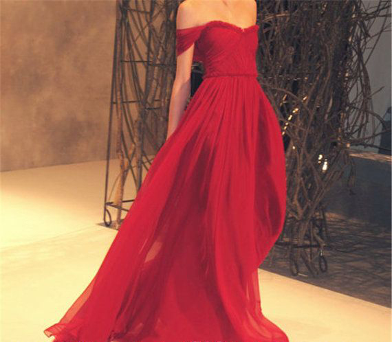 Robe Demoiselle D'honneur Fille Red Long Maxi Sexy Prom Long Off The Shoulder Chiffon Long Prom Gown 2018 Bridesmaid Dresses