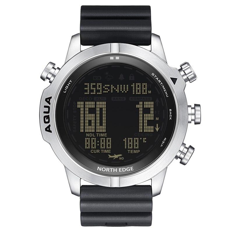 NORTH EDGE-reloj inteligente para hombre, cronógrafo de buceo libre, NDL (sin tiempo Deco), brújula, reloj de temperatura acuático