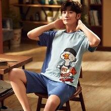 Мужская пижама l 3xl большого размера мужская летняя Хлопковая