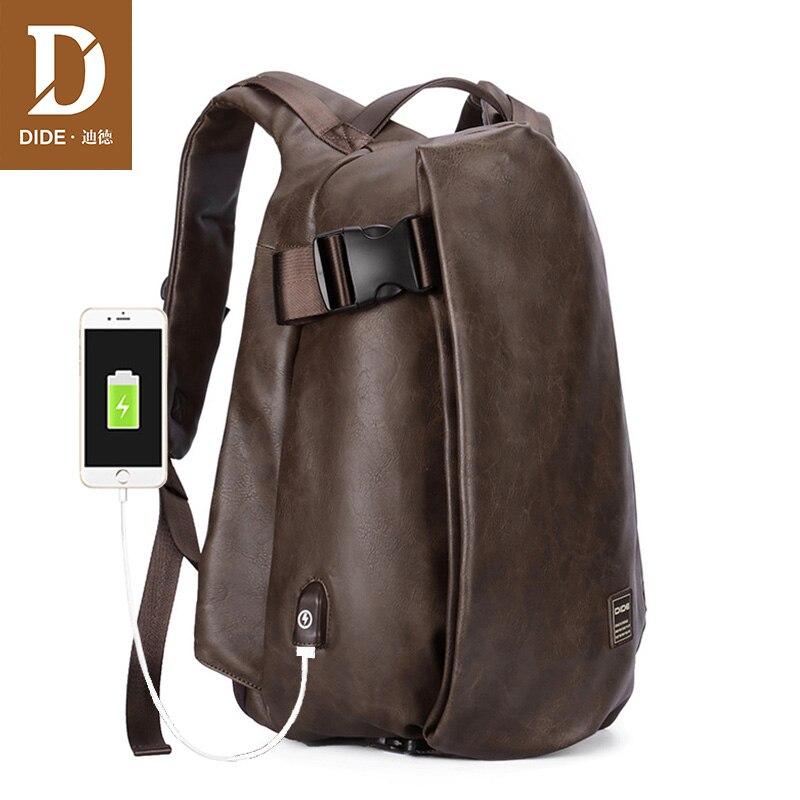DIDE 2019 marque externe USB Charge sac à dos hommes affaires sac à dos de voyage pour ordinateur portable PU cuir sac d'école pour adolescents hommes