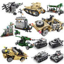 Military weapon compatible legoing ww2 tank T629 SUV antiaircraft world war 2 truck army car soldiers building blocks kids toys(China)