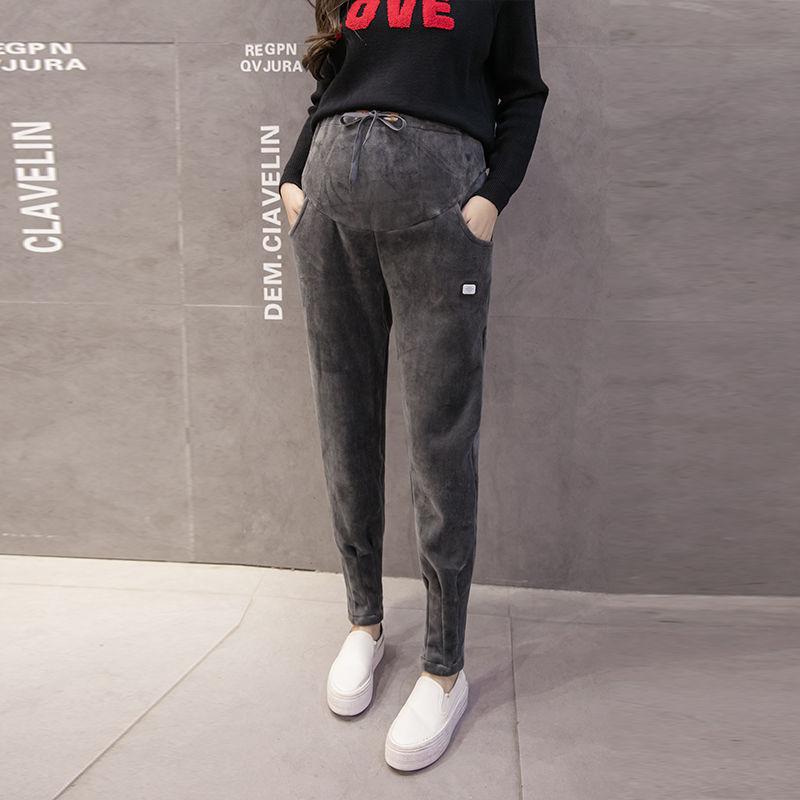 Pregnant Women's Pants Maternity Clothing Plus Velvet Thick Loose Plus Size Pants Spring Autumn Leggings Winter Sports Trousers
