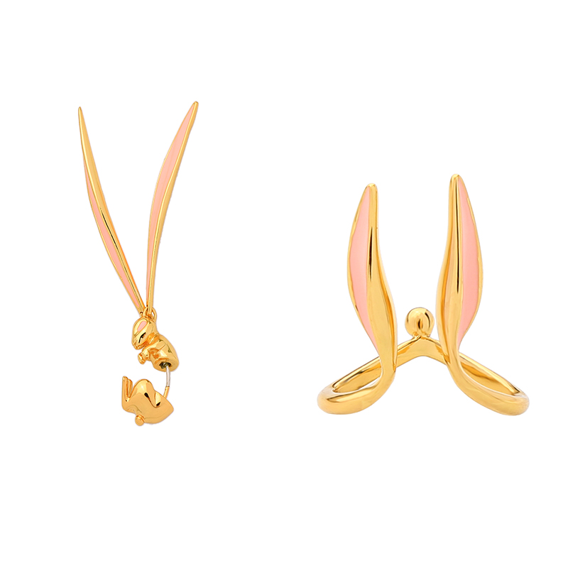1Piece Adorable Rabbit Ears Drop Earrings Copper Enamel Statements Dangle Earrings   For Women Party Gift Fashion Jewelry