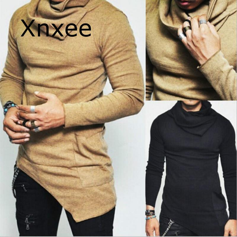 Men's High-necked Sweaters Irregular Top Male Sweater Solid Color Mens Casual Sweater Pullover Sweaters For Mens