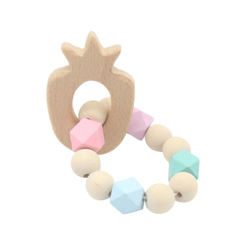 Baby Teether Bracelet Molar Stick Non Toxic Silicone Bite Stick Cute Cartoon Pattern Toy