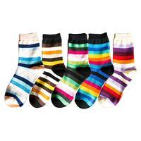 5 Pairs Women Rainbow Horizontal Stripes Cotton Crew Socks Colorblock Hosiery 40JF