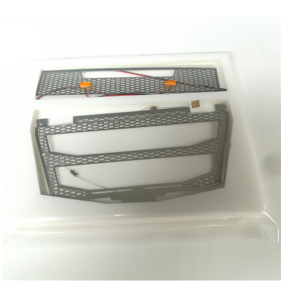 Rc Toys Model <font><b>Truck</b></font> Body Front Metal Intake Grille With <font><b>Lights</b></font> For 1/14 Scale Remote Control Car Tamiya F16 56360 Accessories image