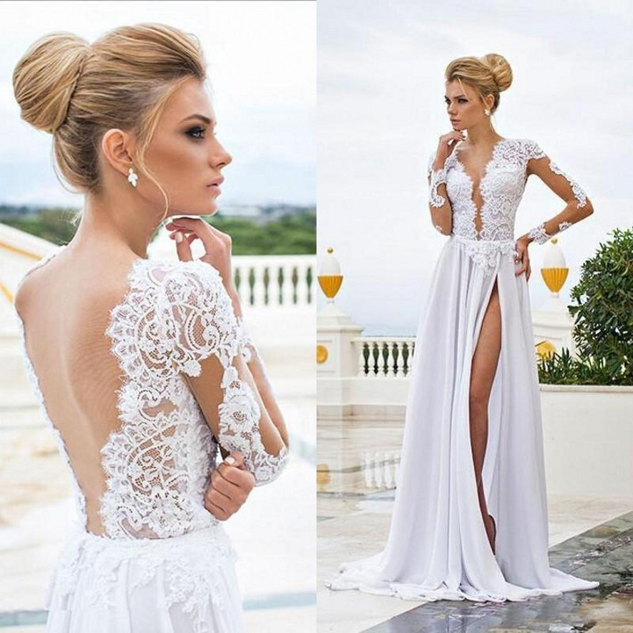 Sexy Beach Wedding Dresses Sheer Lace Appliqued Long Sleeves Sheath V Neck Backless Split Chiffon Bridal Gowns 2020