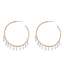 Fashion Korean Chic hoop earring round big ring shining statement cubic zircon Kpop tassel earrings 2019 for women accessories(China)