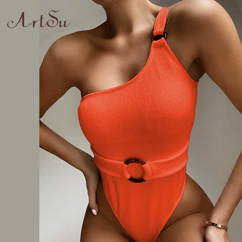 Artsu 夏ワンショルダーボディスーツノースリーブトップス背中のセクシーなビキニワンピース衣装コットン tシャツボディスーツ ASJU60827
