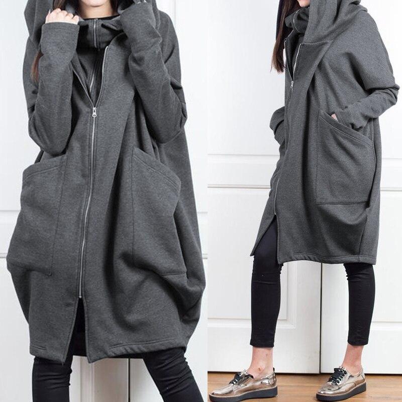 Celmia Winter Outwear Coats Women Vintage Hooded Jackets 2019 Autumn Long Sleeve Zipper Casual Loose Hoodie Sweatshirt Plus Size