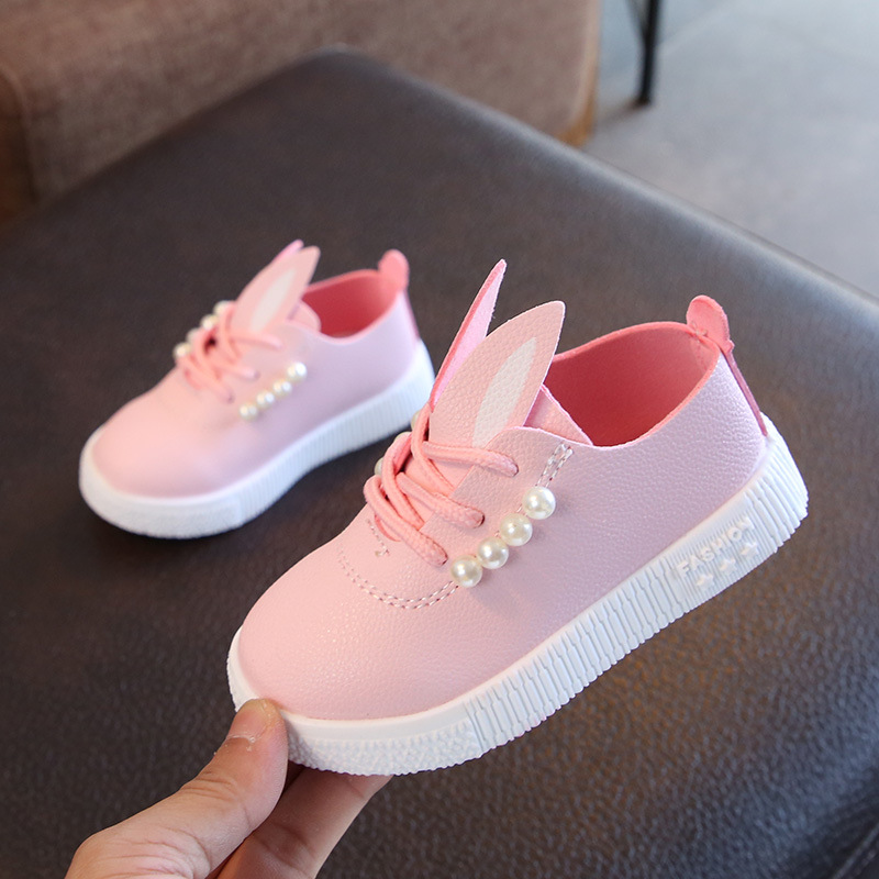 Autumn Winter Children Shoes For Toddler Girls Sneakers Pearl Rabbit Ear Kids Casual Shoes Animal Baby Shoes Fashion Anti-slip