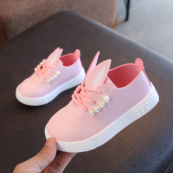 Autumn Winter Children Shoes for Toddler Girls Sneakers Pearl Rabbit Ear Kids Casual Animal Baby Fashion Anti-slip