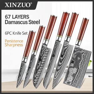 Image 1 - XINZUO 6 PCS Knife Set Japanese VG10 Damascus Forged Steel Bread Santoku Chef Paring Utilities Knives Kitchen Cutlery Gift Box