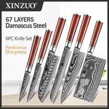"XINZUO 6 PCS סכין סט יפני VG10 דמשק מזויף פלדה לחם Santoku שף קילוף כלי עזר סכיני מטבח סכו""ם אריזת מתנה"