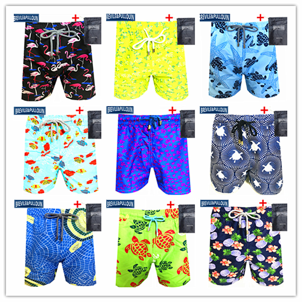 Free Shipping 2020 Bermuda Brand Brevile Pullquin Beach Board Shorts Men Turtles Swimtrunks Flamingo Starfish Pinea + Gifts Bag
