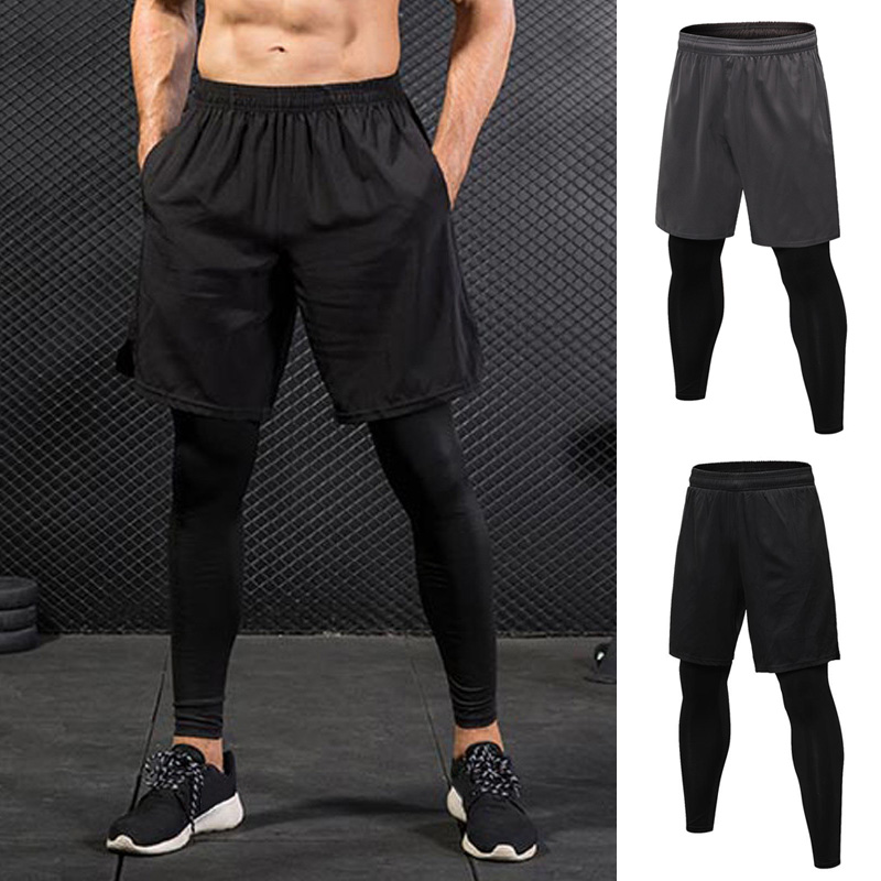 Men Sports Shorts 2 In 1 Training Running Tight Pants for Workout Gym Riding X85